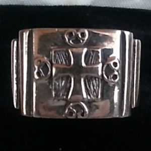 NWT VINTAGE 925 Sterling Silver Chunky Cross Ring